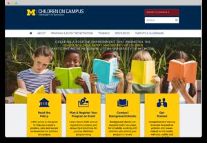 screenshot of the children on campus website